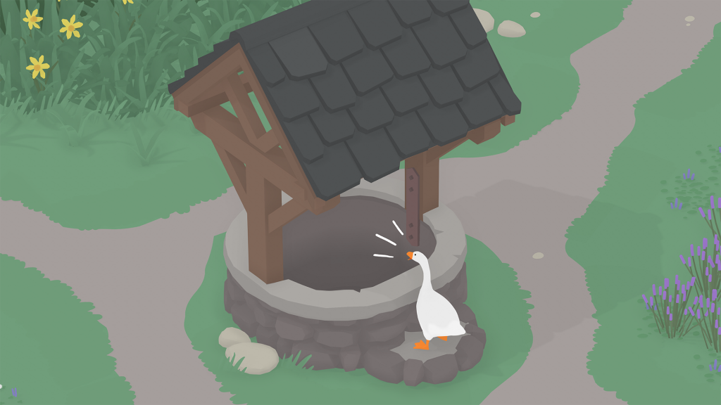 A very mean goose honks at an empty well in an otherwise pleasant village setting